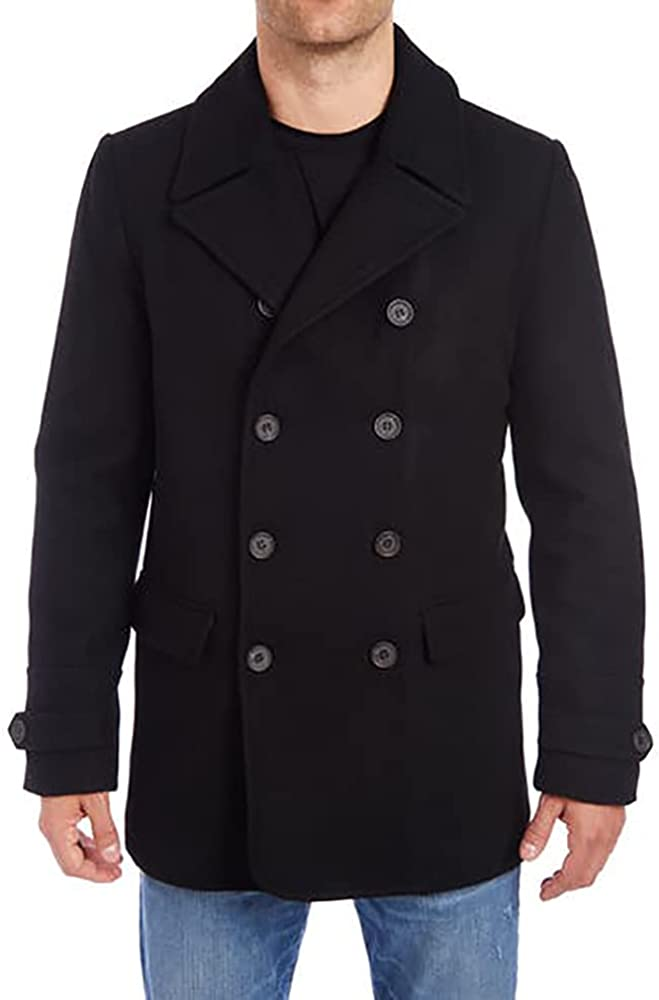 Vince Camuto Men's Wool Double-breasted Peacoat Jacket