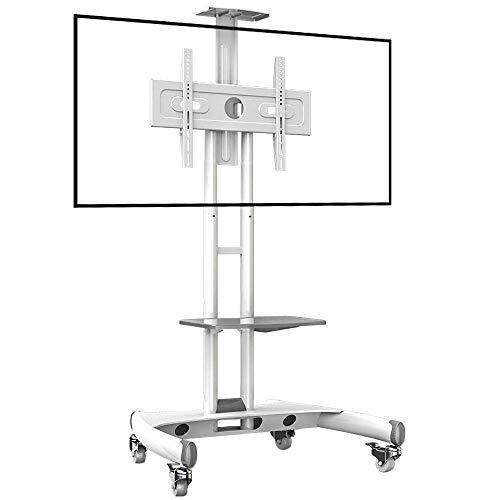 Tornillos de acero inoxidable para soporte de piso de TV para televisores planos curvos de 32 a 65 pulgadas, soporte de piso de TV plano blanco con ruedas Ruedas de hasta 45,5 kg de altura de inclinac