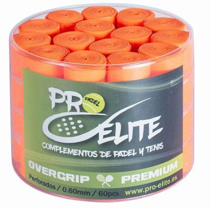 overgrips Pro Elite Premium Perforados Naranjas Flúor. Bote de 60 unds.