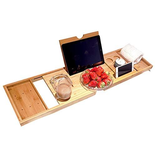 ZLASS Bandeja para bañera, Bandeja Extensible de bambú para bañera, con Soporte para Tableta y teléfono y Soporte para Copa de Vino, Adecuada para Cualquier bañera en el baño, 29.5'-37.4'