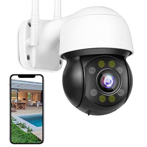 WiFi IP PTZ Cámara Exteriores 1080P HD IP Cámara de Vigilancia Exterior,Audio Bidireccional,30M HD Visión Nocturna,Control de APP,Seguimiento Humanoide,Alarma de voz DIY,ONVIF 【Cámara+32G-TF-Tarjeta】