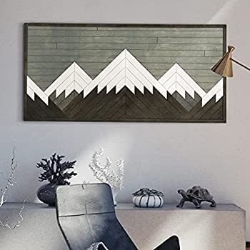 Mountain Wall Art for living room- Reclaimed Wood Panel Wall Art Blanca Peak- P_101_2_M