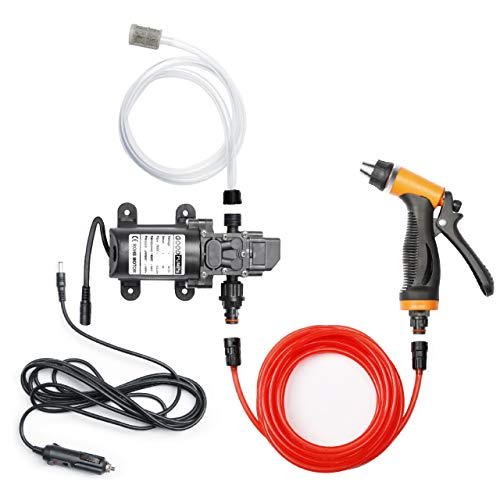 Bang4buck Portable Intelligent Electric Pressure Washer Pump 100W 160 PSI 12V High Pressure Powerful Washing Kit with 21.3 Feet PVC Hose for Home, Car, Garden, Projects(100 W-Black Hose)