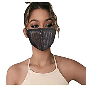 5pcs Reusable Face Guard, Mesh Face Bandanas for Adults, Breathable Face Covering (Black 5pcs) by Fewear