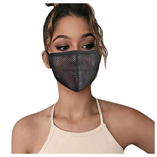 5pcs Reusable Face Guard, Mesh Face Bandanas for Adults, Breathable Face Covering (Black 5pcs)