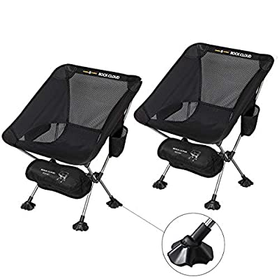 Rock Cloud 2 Pack Ultralight Camping Chair Portable Folding Chairs Outdoor with Legs Stabilizers for Camp Hiking Backpacking Lawn Beach Sports
