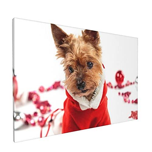 PATINISA Yorkshire Terrier disfrazado de Santa sobre un fondo claro Painting Cuadro sobre Lienzo Canvas Wall Art para Colgar Impresin de la Lona 45x30cm