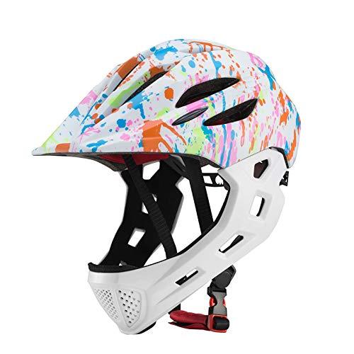 QWCZY Casco da Bici per Bambini, Casco Integrale per Bambini Casco da Mountain Bike Ultraleggero Staccabile per Casco da 3-10 Anni, con Flash LED,D,16.9 * 21.2inch/43 * 54cm