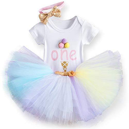 Unicorn Baby Girl 1st Birthday Outfit Baby Romper+Tutu Skirt+Headband Clothes Set A1 Rainbow 1 Year