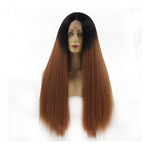 LUZIWEN Mme KK couleur de dégradé épais bouchons perruque de dentelle perruque brun doré (Color : 24 inches)