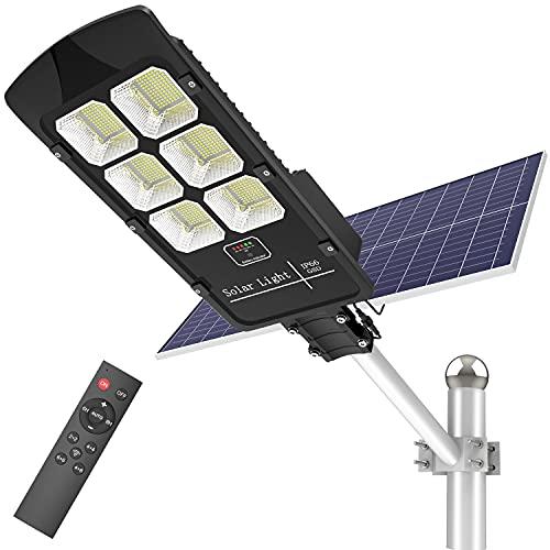 500W Solar Street Lights Outdoor Dusk to Dawn 30000 Lumens Solar Powered Light Motion Sensor Waterproof IP66 Security Solar Led Flood Light for Parking Lot/ Stadium/ Yard/ Garage/Garden (Cool White)