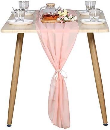 Rose Gold Coral Powder Boho Table Runner 10Ft Chiffon Table Runner Rose Gold Table Runner 28 product image