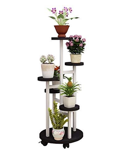 MingXinJia Soporte para Flores 6 Capas Soporte para Flores Marco de Metal Blanco Soporte para Plantas Estante para Terraza Soporte para Macetas Negro Soporte para Jardín Estante de Almacenamiento Ext