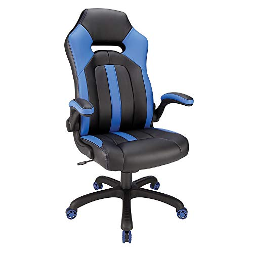 Realspace High-Back Gaming Chair, Blue/Black black chair gaming