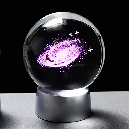 ZZLLFF Universo 3D Globe Globe Crystal Galaxy Ball Modelo en Miniatura con cargable LED Decoración para el hogar Accesorios Astronomía (Color : Base and Galaxy Ball, Size : 6 cm Ball)