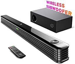 Soundbar with Wireless Subwoofer, Bomaker 150W 2.1 CH Sound Bars for TV, Bass Adjustable, Works with 4K & HD TV, Clear Treble,Bluetooth 5.0 Speaker Surround Sound for Home Theater