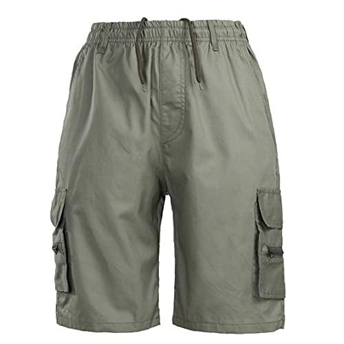 fregthf Mannen Zakken Shorts Summer Elastiek In De Taille Tooling Korte Broek Met Koord Green Xl
