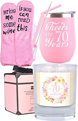 Cheers to 70 Years Wine Tumbler, Socks and Candle Gift Set