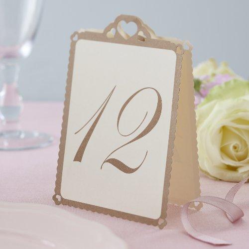 Ginger Ray mesa de campaña corazón números 1-12, marfil/oro