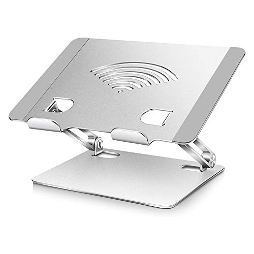 HYE Laptop Stand, Adjustable Aluminum Laptop Stand Foldable,Ergonomic Laptop Stand Riser with Cooling Vents&Removable Mouse Pad, Silver
