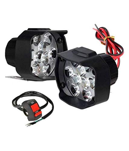 Generic 9 LED Fog Light Universal Bike and Car Work Lamp for Off Roading – Free ON/Off Switch - Set of 2 (15 W)