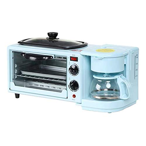 Wgwioo Máquina De Desayuno Multifunción con Horno Eléctrico Mini Tostador, Estación para Hacer Desayuno 3 En 1, Sartén, Sandwichera De Huevos para El Desayuno,Azul