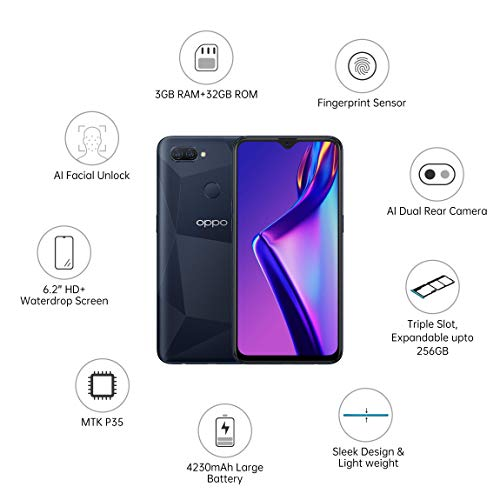Oppo A12 (Black, 4GB RAM, 64GB Storage) with No Cost EMI/Additional Exchange Offers