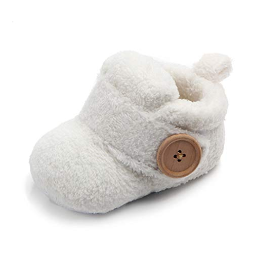 Babyschuhe für 0-18 Monate, Auxma Baby Jungen Mädchen Winterschuhe, Warme Schuhe Stiefel für Kleinkinder (0-6 Monate, Weiß)