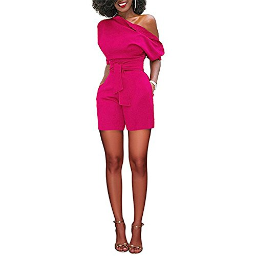TOTOD Rompers for Women, Summer Sexy Off Shoulder Ruffle Shorts Fashion Short Sleeve Jumpsuits with Pockets(Hot Pink ,XL)
