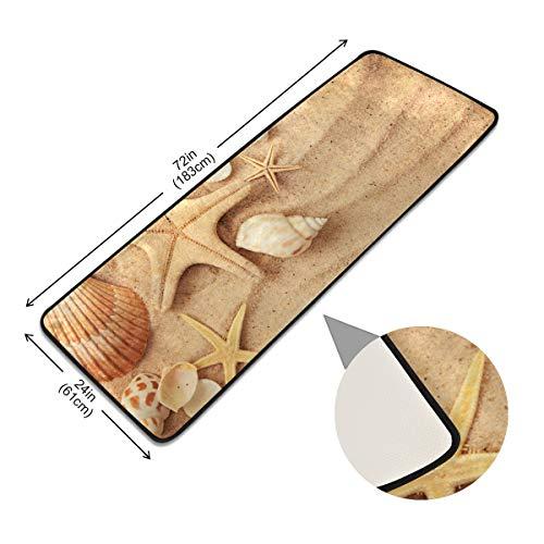 XiangHeFu Antislip tapijt, antislip, strand, zandkleurige schelpen, pads, vloer, moderne deurmat