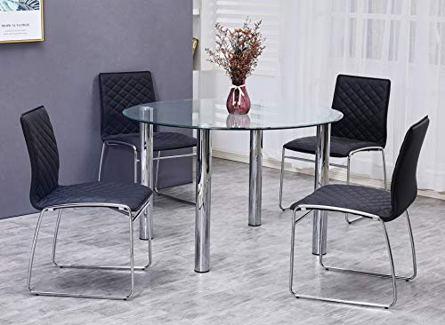 Best Master Furniture Tarina 5 Pcs Round Glass Top Dinette Set, Black