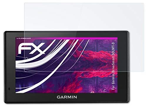 atFoliX Lámina Protectora de plástico Cristal Compatible con Garmin DriveSmart 50LMT-D Película Vidrio, 9H Hybrid-Glass FX Protector Pantalla Vidrio Templado de plástico
