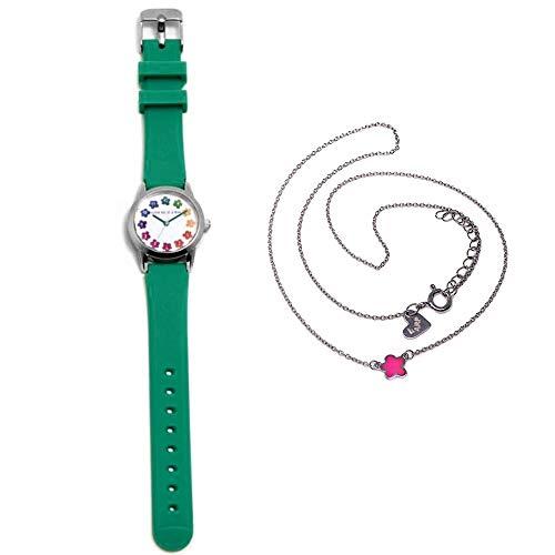 Juego Agatha Ruiz De La Prada Reloj Agr258 Verde Niña Gargantilla Plata Ley 925M Flor Rosa Esmalte - Modelo: Agr258