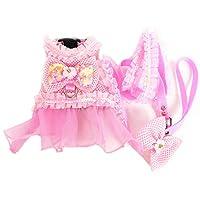 ピンクの犬のドレスハーネスリードセット通気性メッシュ小型犬ペット猫服シャツコスチューム犬チュチュスカート弓パーティーウェディングドレス-Pink-L