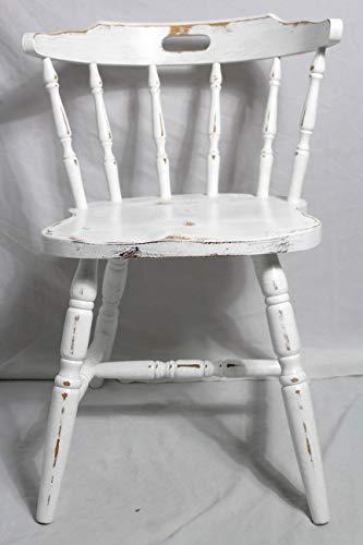 Shabby Stuhl alter Armlehnenstuhl/Holzstuhl/Küchenstuhl weiß 60er Jahre Landhaus Vintage Shabby Chic Möbel