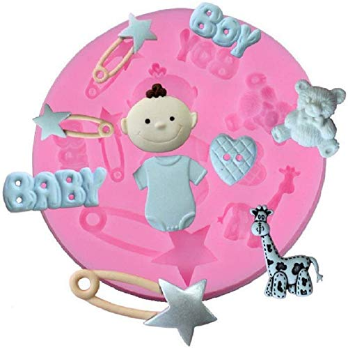 KIRALOVE Silicone Mould Food - Kitchen - Teddy Bear - Cakes - Decorations - Pancakes - sa154 - Sugar Paste - Heart - Fondant - Brooch - Baby Boy Accessories - Giraffe Muffin