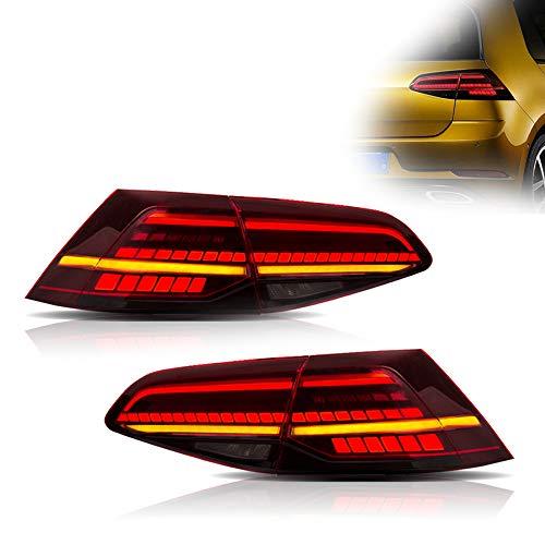 OKLEAD 1 Paar LED Sequential Tail Lights Achterlicht Fit voor 2013-2017 Volkswagen Golf 7 MK7 MK VII (buitenkleur: rood+wit)