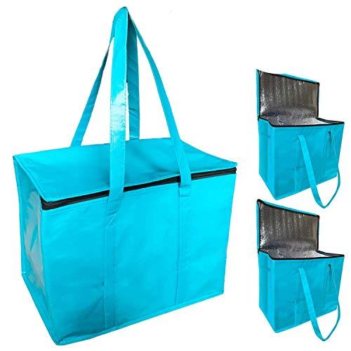 JALOUSIE 3 x XL-große Kühltaschen, isoliert, wiederverwendbar, für Lebensmitteleinkäufe – extra große wasserdichte Oberfläche, Picknick-Kühltasche mit Reißverschluss, verstärkter Boden und Griffe.