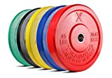 X Training Equipment Premium Color Bumper Plate Solid Rubber with Steel Insert - Great for...