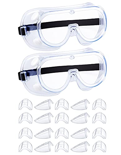 Anti-Fog Safety Goggles and 10 Pairs Side Shields For Prescription Glasses Bundle