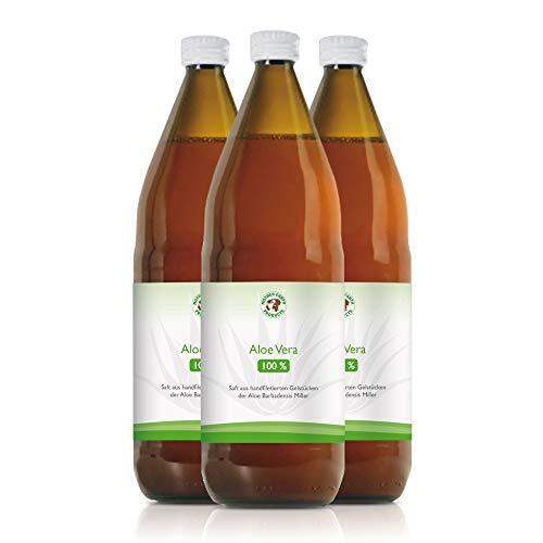 Aloe Vera Bio-Direktsaft 100% | Handfiletiert | Reich an natürlichen Inhaltsstoffen | Durchschnittlich 1200mg/l Aloverose | Braunglasflaschen | 3 x 1000ml