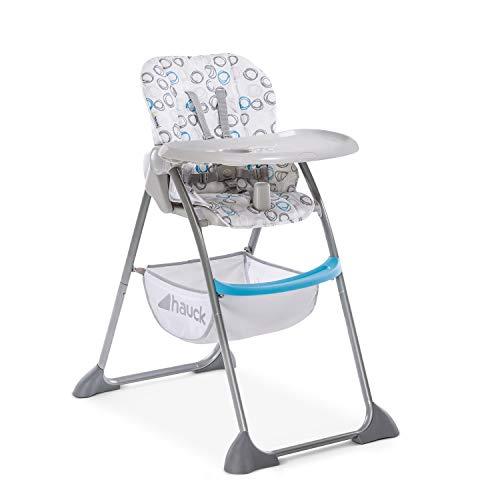 Hauck Kinder Hochstuhl Sit N Fold / ab 6 Monate bis 15 kg / Schmal Faltbar / Verstellbare Rückenlehne / Abnehmbares Tablett / Großer Spielzeug Korb / Weiß Blau
