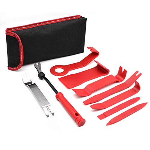 Auto Trim Removal Tool Set, Car Panel Removal Tool Kit for Easy Removal of Car Door Panel, Audio, Stereo, Dash Cam, Fastener, Molding, Dashboard and Wheel Hub, 9 PCS Red, w/Upgraded Anti-Slip Ring