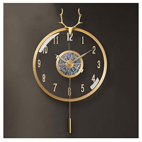 Relojes de pared Moderna luz de lujo reloj de pared Ciervo cabeza sala de estar decoración reloj de pared ambiente personalidad dormitorio reloj de pared latón Relojes para la decoración de la sala de