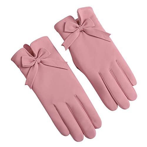 CAILIN Handschuhe & Fäustlinge Handschuhe Damen Winter Wärme und Samt Thick Bogen-Dekoration windundurchlässige wasserdichte Touch-Screen-Handschuhe, Rosa strickhandschuhe