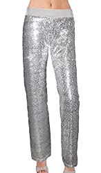Silver Color Sequin With Velvet Straight Leg Pants
