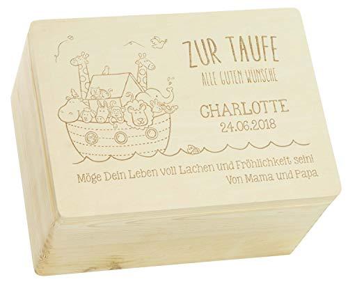LAUBLUST Holzkiste mit Gravur - Personalisiert mit Name | Datum | WIDMUNG - Natur Größe XL - Arche Noah Motiv - Geschenkkiste zur Taufe