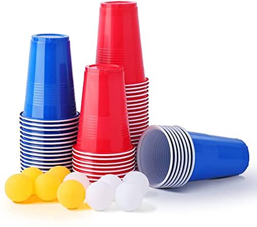 Herefun 50 Beer Pong Kit, Cerveza Pong Set, Cerveza Pong Copas Juego de Beber con 6 Pelotas Ping-Pong para Bebidas, Fiesta Celebración (Type-D)