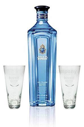 Star of Bombay Slow Distilled London Dry Gin 0,7l (47,5% Vol) + 2x Bombay Sapphire Glas Gläser Ginglas Longdrinkglas- [Enthält Sulfite]