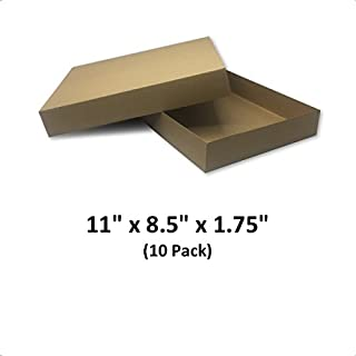 Brown Cardboard Kraft Apparel Decorative Gift Boxes with Lids for Clothing and Gifts, 11x8.5x1.75 (10 Pack)   MagicWater Supply